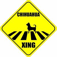 """CHIHUAHUA XING CROSSING ROAD SIGN 5"""" DOG SILHOUETTE STICKER"""