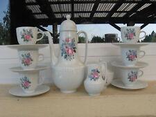 SERVICE MOKA porcelaine HUTSCHENREUTHER Décor bouquet