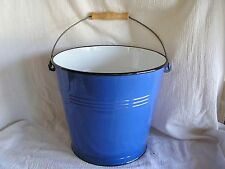 NEW Blue & White Enamel Tin Bucket Country Rustic Decor Ice Flowers Camping COOL