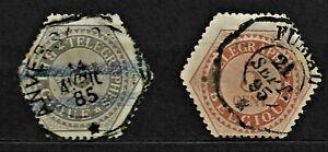 Belgium 1871 Telegraph stamps - gray 5c, 1888 Telegraph stamps - brown 5c