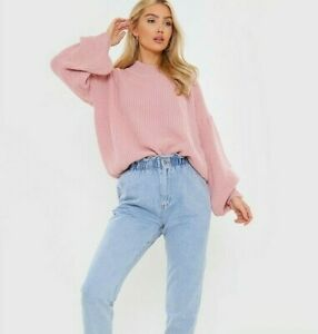 New In The Style X Billie Faiers Balloon Sleeve Oversized Jumper - Pink - Sz 6