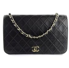 Vintage Classic Black Chanel Quilted Lambskin Wallet Chain Gold Single Handbag