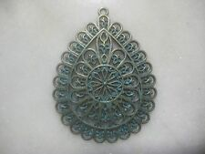 Brass Filigree Tear Drop Pendant, Ornate Detailed Drop, Green Patina, by Zola