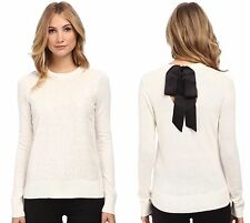 Kate Spade Fluffy Wool Sequin Sweater Ivory Bow Back Crewneck XXS