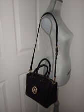 MICHAEL KORS Womens HUDSON Black Leather Satchel Hand Shoulder Bag Purse Gold MK