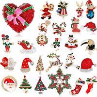 Christmas Xmas Crystal Tree Santa Snowman Brooch Pin Wedding Woman Jewelry Gift