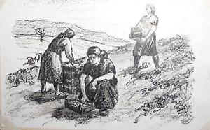 Vintage pastel drawing portrait females field workers
