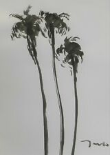 """Jose Trujillo 18x24"""" Ink Wash Painting Abstract Palm Trees Contemporary Art"""