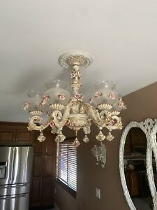 Capodimonte Chandelier 6 Lights in Brown Gold Finish Open Globe, Made in Italy