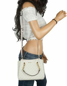 MICHAEL KORS TEAGEN SMALL PVC LEATHER MESSENGER BAG MK VANILLA PINK POWDER BLUSH