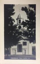 RPPC Church At Thetford, Vermont ca 1940s Vintage Real Photo Postcard