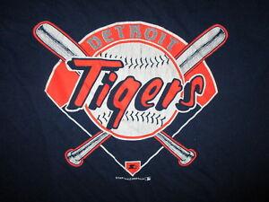 vtg 80s DETROIT TIGERS T SHIRT by STARTER Baseball Diamond Bat Crest Logo Blue L