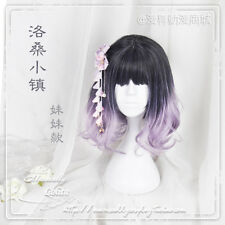 Japanese Lolita Black Mixed Purple Gradient Daily Short Wig Cosplay Curly Hair #