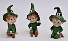Set 3 Vintage Lefton Leprechauns Pixies Elf Elves Figurines 06107 Nos Miniatures