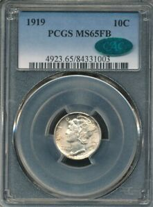 1919 Mercury Dime PCGS MS 65 FB / CAC *CAC Approved!* *Full Bands!* *Toned!*