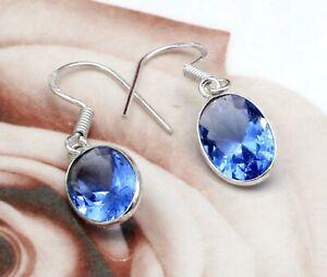 925 Sterling Silver Swiss Blue Topaz Gemstone Handmade Jewelry Earrings Size-1.