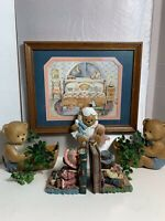 Home Interior and Gifts Homco Teddy Bear Picture, Plaques, Resin Bookend Set LOT