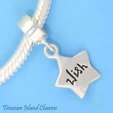 WISH UPON A STAR .925 Solid Sterling Silver EUROPEAN EURO Dangle Bead Charm