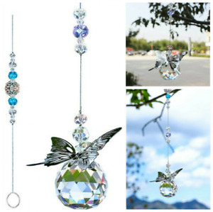 2pc Crystal Butterfly Prisms Ball Suncatcher Hanging Ornament Pendant Home Decor