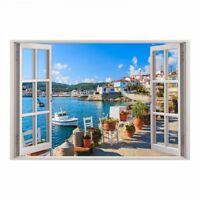 154 Wandtattoo Fenster - Mediterran Mittelmeer Maritim Wohnzimmer Flur Wanddeko