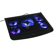 "17"" Laptop USB LED 5 Fan Notebook Cooling Cooler Adjustable Stand Pad Black CA"