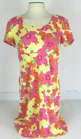 Lilly Pulitzer Womens S Short Sleeve Scoop Neck Yellow Pink Floral A Line Dress