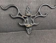 Cast Iron Wall Mount Multi Hook Coat Hat Rack 3 Swivel Arms