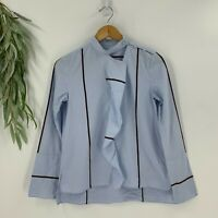 Derek Lam 10 Crosby Womens Long Sleeve Blouse Size 0 Blue Ruffle Shirt Top Woven