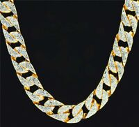 "Mens Iced Out Gold CZ 14mm 30"" Miami Curb Link Chain Thick Heavy 235g Necklace"