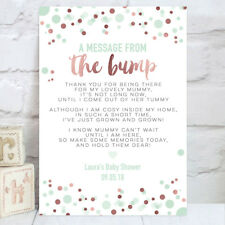 Baby Shower Table Sign Message From Bump Poem Rose Gold & Mint Green (BS11)
