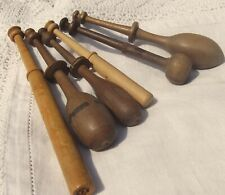 Collection of Vintage French Wood Bobbins Lace Making wooden Spools