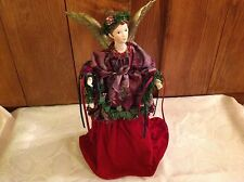 Vintage Victorian Tree Topper Or for table Angel Burgandy velvet dress Taiwan