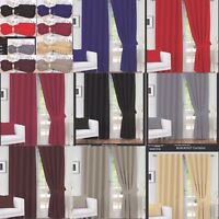 PAIR OF BLACKOUT PENCIL PLEAT CURTAINS FULL LINED + 2TIE BACKS FOR HOOKS & POLE