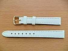 14MM WHITE CALF GRAIN WATCH STRAP WITH GOLD COLOURED BUCKLE