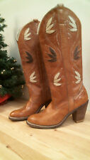 Dingo Womens Cowboy Boots size 7 1/2 M marble brown leather vintage 7425