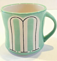 """Anthropologie Hand Painted Mint Green Letter M Initial Coffee Cup Mug 4.5"""" Tall"""