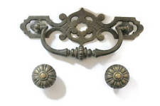 Vintage Large Ornate Bronze Scroll Drawer Handle And 2 Drawer Pulls