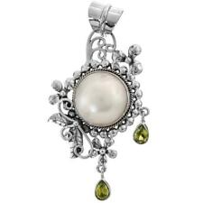 "2 3/16"" WHITE MABE PEARL PERIDOT 925 STERLING SILVER pendant"