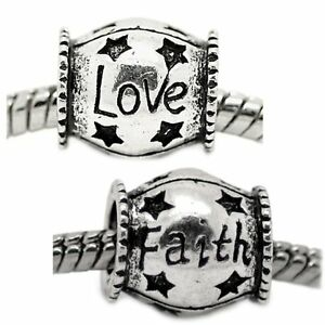 """Set of Two Charms """"Love"""" and """"Faith"""" Charm Spacer Beads"""