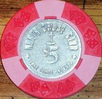 Old $5 NORTH SHORE CLUB Casino Poker Chip Vintage Antique Lake Tahoe NV 1965