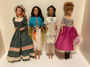 Barbie Dolls of the World - 2 Native American, French, Pioneer - Mattel