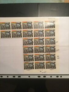 Ghana 1967 Sg 384 Part Sheet Showing Missing Over Prints With Slipped Normal O/p