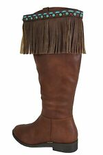 Western Women Boots Toppers Pair Brown Leather Long Fringes Turquoise Blue Beads