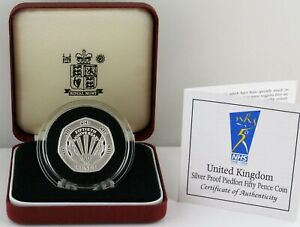 1998 NHS PIEDFORT Silver Proof Fifty Pence 50p coin COA Box