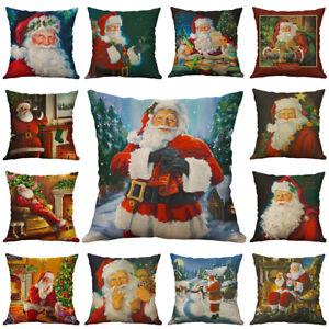 Christmas Santa Claus  Cotton Linen Pillow Case Throw Cushion Cover Home Décor