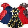 Retro Rockabilly Vintage Polka Pin Up Swing Dress Housewife 1950s Evening Formal