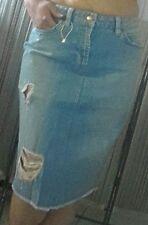 TRENDY Jupe mi longue Jean bleu clair bleashed avec effet usé ZARA T 38
