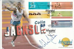 2002 Autographed Editions Signed Colin Jackson Full Set Commonwealth Games FDC