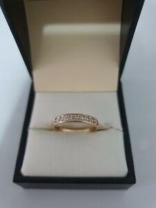 9ct Yellow Gold Ladies Grain Set Wedding Band 8 cut Diamonds size N