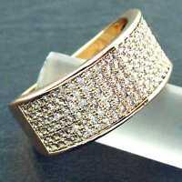 Ring Real 18k Yellow G/F Gold Genuine Diamond Simulated Eternity Design Sz N